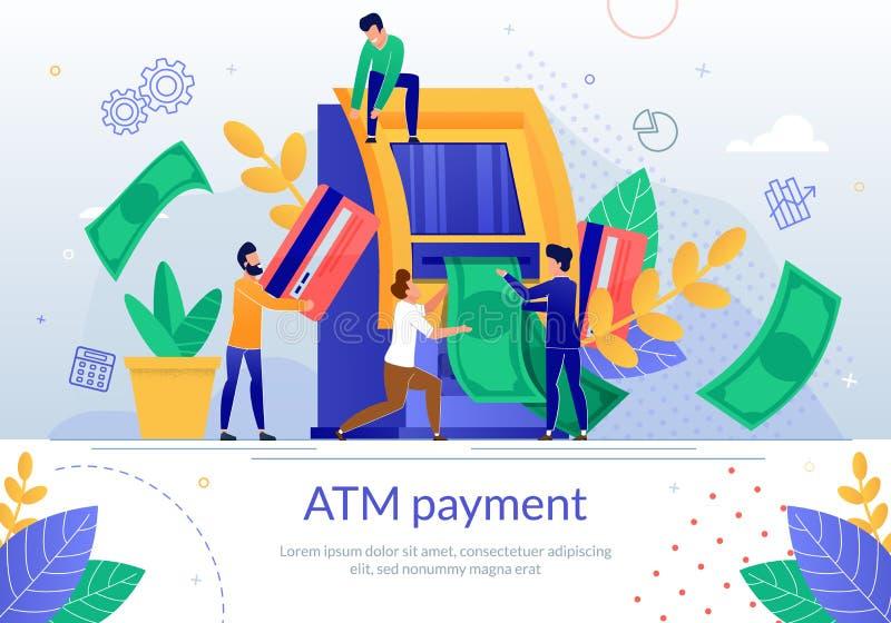 Επίπεδη διανυσματική αφίσα εμβλημάτων υπηρεσιών πληρωμής τράπεζας ATM ελεύθερη απεικόνιση δικαιώματος