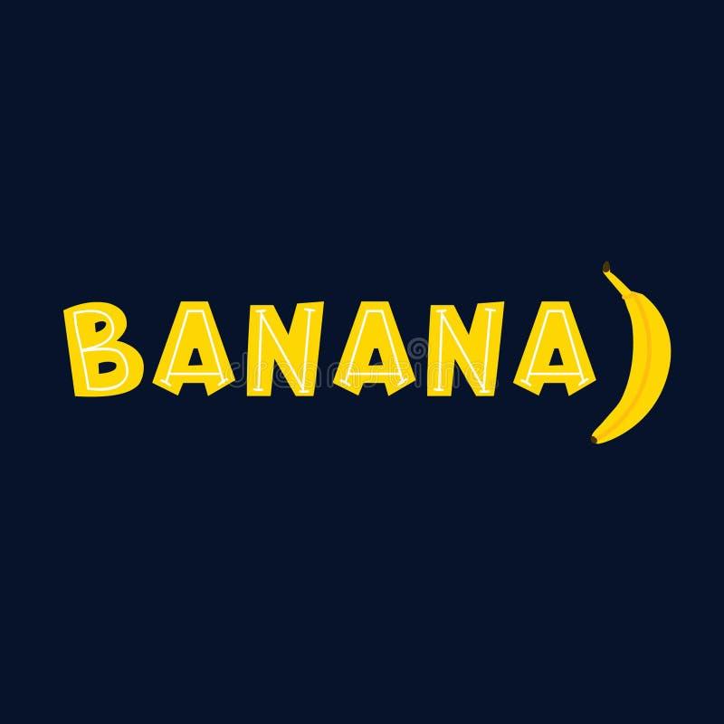 Επίπεδη διανυσματική εγγραφή μπανανών διανυσματική απεικόνιση