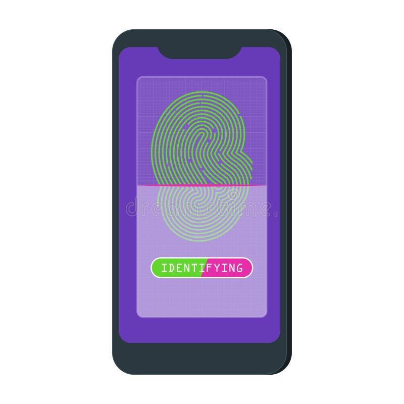 Επίπεδη διανυσματική app προσδιορισμού δακτυλικών αποτυπωμάτων κινητή έννοια διανυσματική απεικόνιση