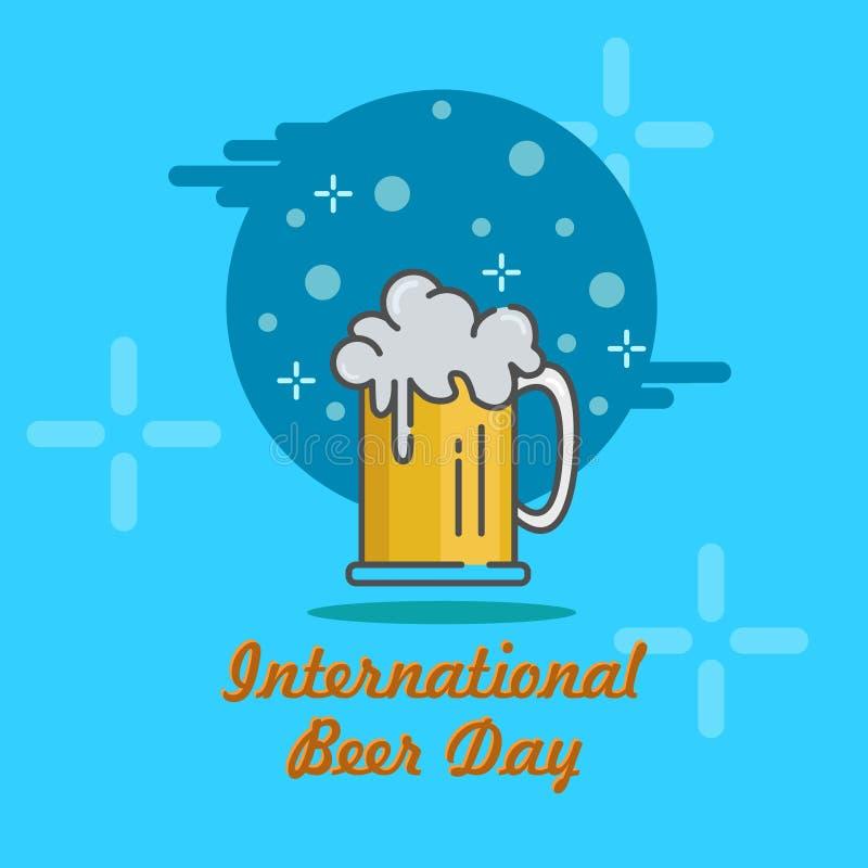 Επίπεδη εικονιδίων ημέρα μπύρας απεικόνισης ευτυχής διεθνής στοκ εικόνες με δικαίωμα ελεύθερης χρήσης