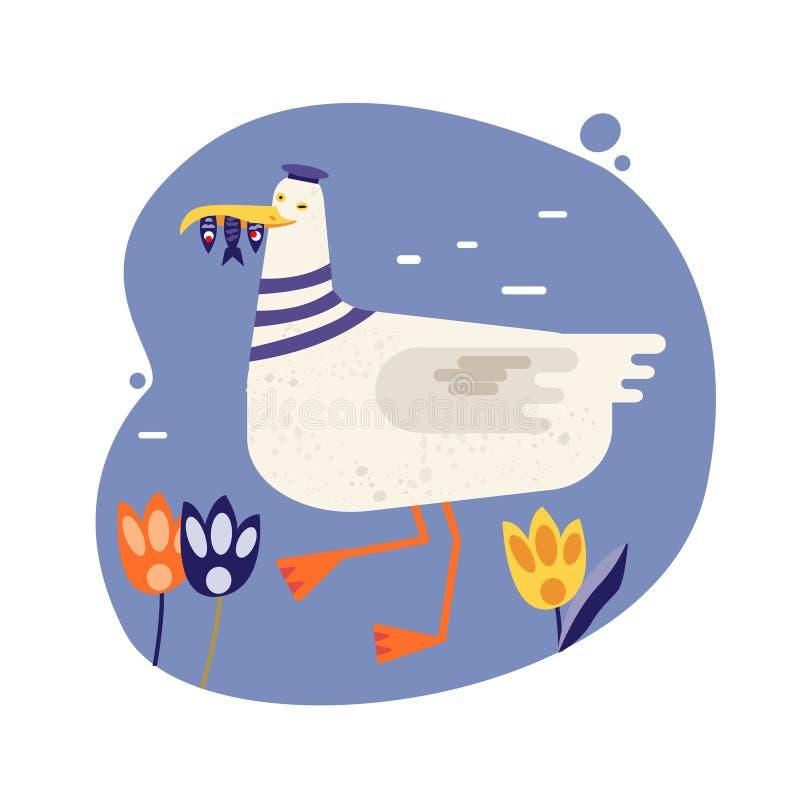 Επίπεδη εικόνα με διάνυσμα γλάρου Θαλάσσια πτηνά που κρατούν ψάρια σε ράμφη απεικόνιση αποθεμάτων