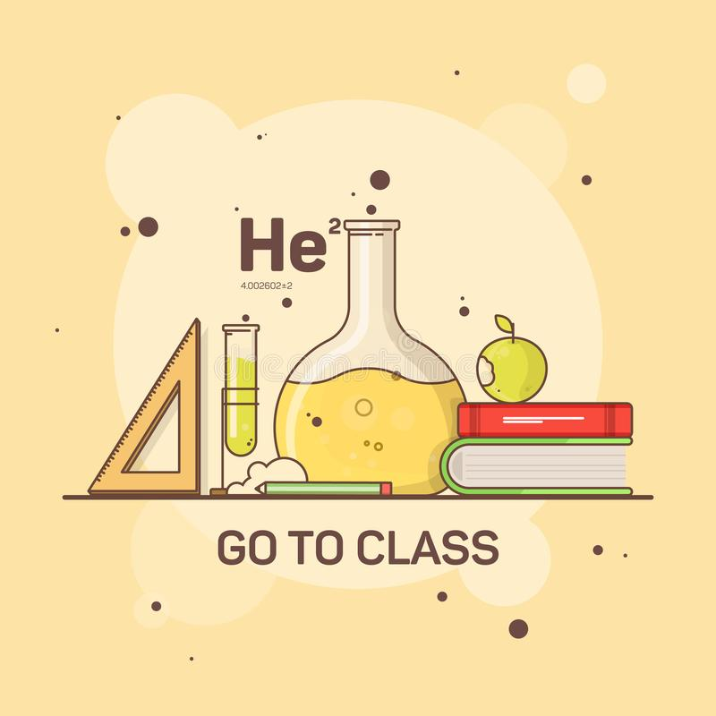 Επίπεδη εικόνα των προμηθειών σχολείων και σπουδαστών για τη χημεία και τη μελέτη διανυσματική απεικόνιση