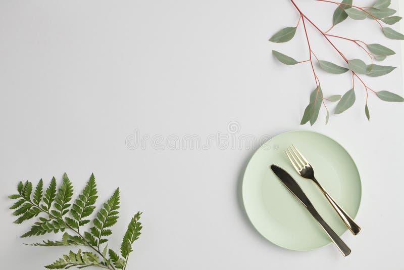 Επίπεδη επιφάνεια λευκού πορσελάνινου τσίγκου με χαλύβδινο μαχαίρι και πιρούνια και πράσινα φυτά στοκ εικόνες