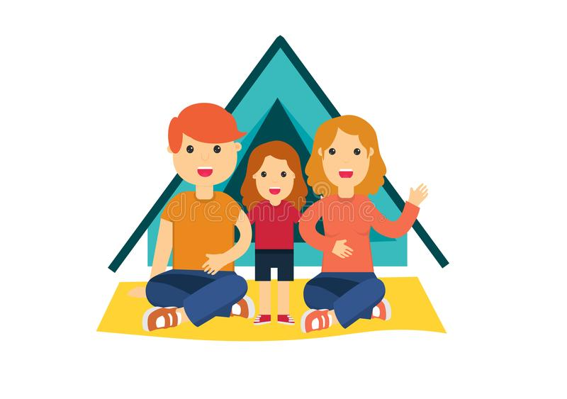 Επίπεδη ζωηρόχρωμη διανυσματική απεικόνιση της οικογένειας απεικόνιση αποθεμάτων