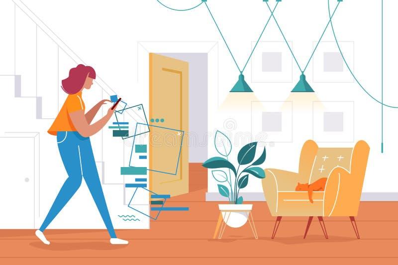 Επίπεδη νέα γυναίκα σκιαγραφιών με το κινητό τηλέφωνο στον τηλεφωνικό κόσμο απεικόνιση αποθεμάτων