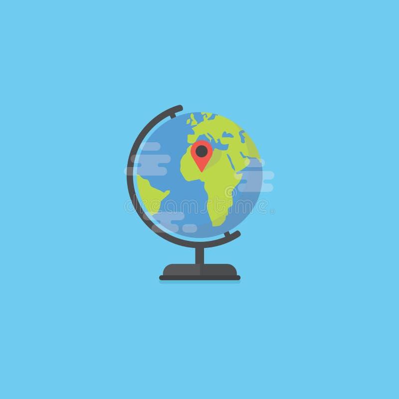 Επίπεδη παγκόσμια σφαίρα με το εικονίδιο καρφιτσών χαρτών Θέσεις στο γήινο χάρτη Έννοια θέσεων Geo ελεύθερη απεικόνιση δικαιώματος