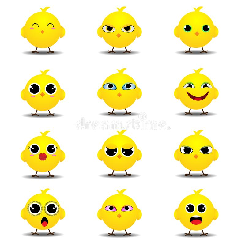 Επίπεδη συλλογή emoji του αστείου νεοσσού ελεύθερη απεικόνιση δικαιώματος