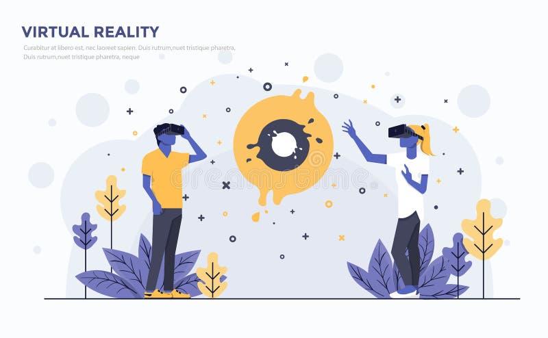Επίπεδη σύγχρονη απεικόνιση έννοιας - εικονική πραγματικότητα ελεύθερη απεικόνιση δικαιώματος