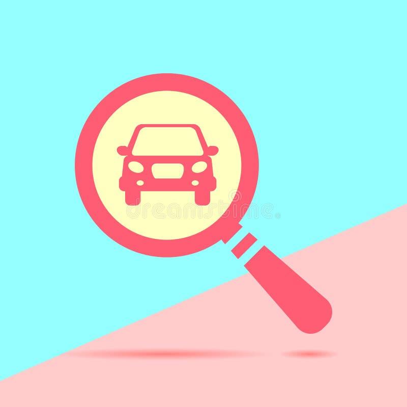 επίπεδη σύγχρονη κόκκινη έννοια αναζήτησης του μισθώματος ένα αυτοκίνητο με τη σκιά στο blu διανυσματική απεικόνιση