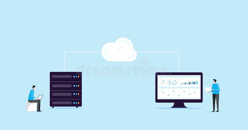 Επίπεδη σύνδεση αποθήκευσης σύννεφων τεχνολογίας έννοιας σχεδίου απεικόνισης με την επιχειρησιακή τεχνολογία wen φιλοξενία και σε διανυσματική απεικόνιση