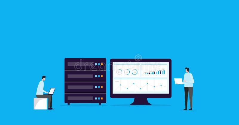 Επίπεδη σύνδεση αποθήκευσης σύννεφων τεχνολογίας έννοιας σχεδίου απεικόνισης με την επιχειρησιακή τεχνολογία wen φιλοξενία και σε ελεύθερη απεικόνιση δικαιώματος