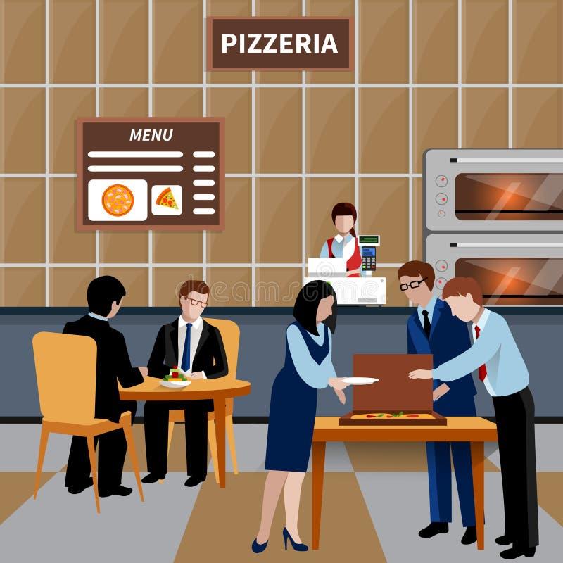 Επίπεδη σύνθεση ανθρώπων επιχειρησιακού μεσημεριανού γεύματος διανυσματική απεικόνιση