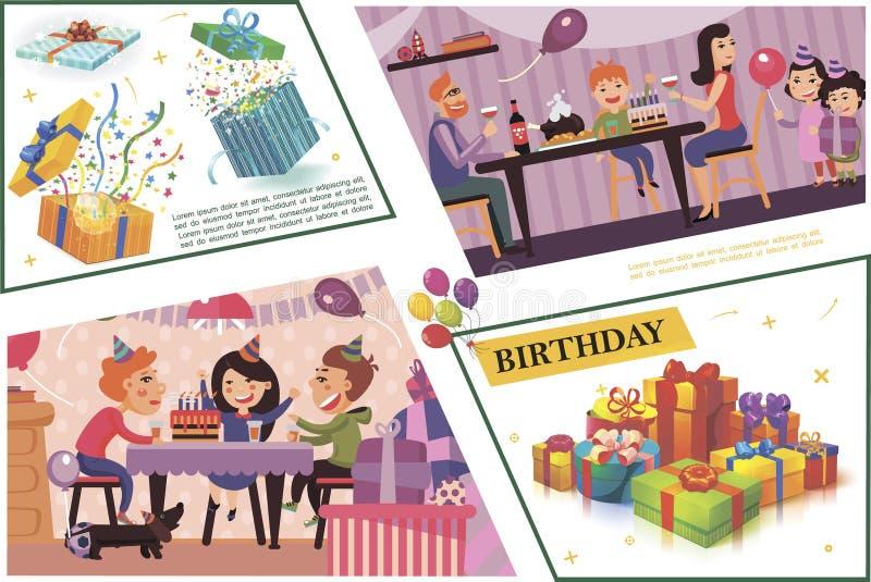 Επίπεδη σύνθεση γιορτής γενεθλίων ελεύθερη απεικόνιση δικαιώματος