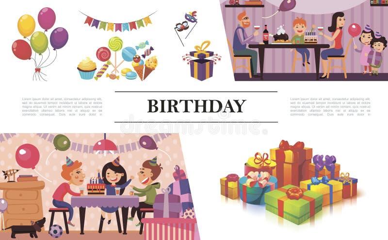 Επίπεδη σύνθεση γιορτής γενεθλίων διανυσματική απεικόνιση