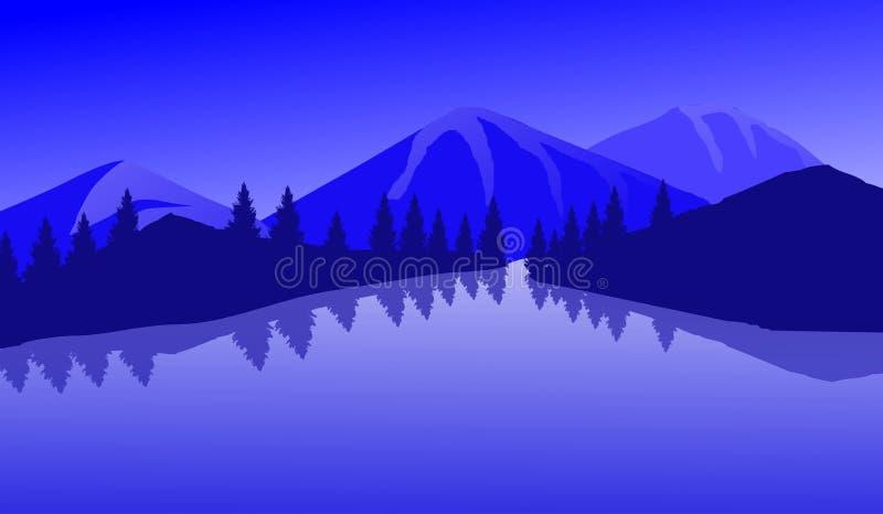 Επίπεδη τέχνη απεικόνισης τοπίων λιμνών βουνών στοκ φωτογραφίες