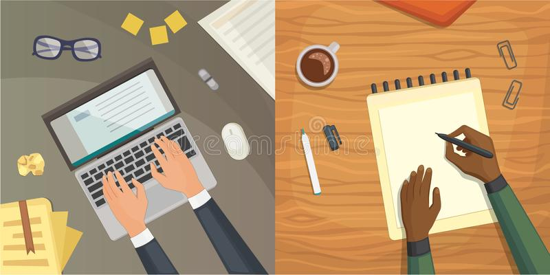 Επίπεδη τοπ άποψη σχεδίου σχετικά με το σχέδιο έννοιας γραφείων, που γράφει στην επιστολή Εργασιακός χώρος με τη γραφομηχανή Επίπ απεικόνιση αποθεμάτων