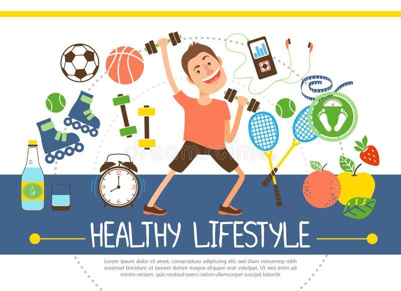 Επίπεδη υγιής έννοια τρόπου ζωής απεικόνιση αποθεμάτων