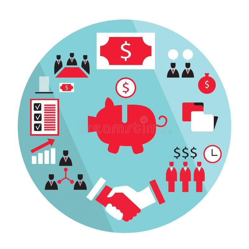 Επίπεδη χειραψία επιχειρησιακών στοιχείων σχεδίου, που κερδίζει χρήματα, piggy τράπεζα, έννοια συνεργασίας και κ.λπ. διανυσματική απεικόνιση