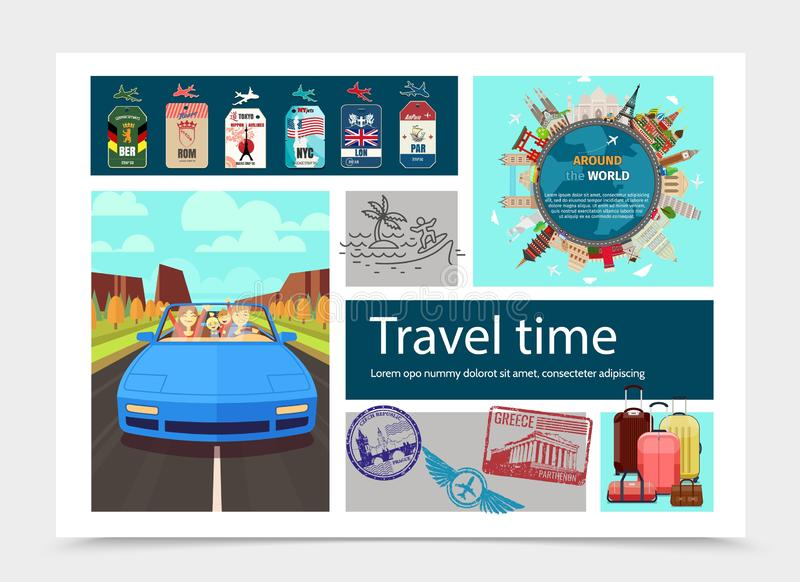 Επίπεδη χρονική σύνθεση ταξιδιού διανυσματική απεικόνιση