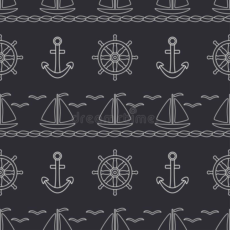 Επίπεδη ωκεάνια βάρκα σχεδίων γραμμών μονοχρωματική διανυσματική άνευ ραφής, πανί, τιμόνι, άγκυρα Αναδρομικό ύφος κινούμενων σχεδ ελεύθερη απεικόνιση δικαιώματος