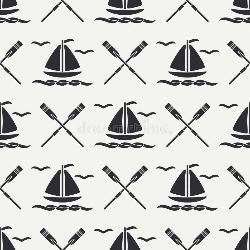Επίπεδη ωκεάνια βάρκα σχεδίων γραμμών μονοχρωματική διανυσματική άνευ ραφής με το πανί, κουπί Αναδρομικό ύφος κινούμενων σχεδίων  απεικόνιση αποθεμάτων