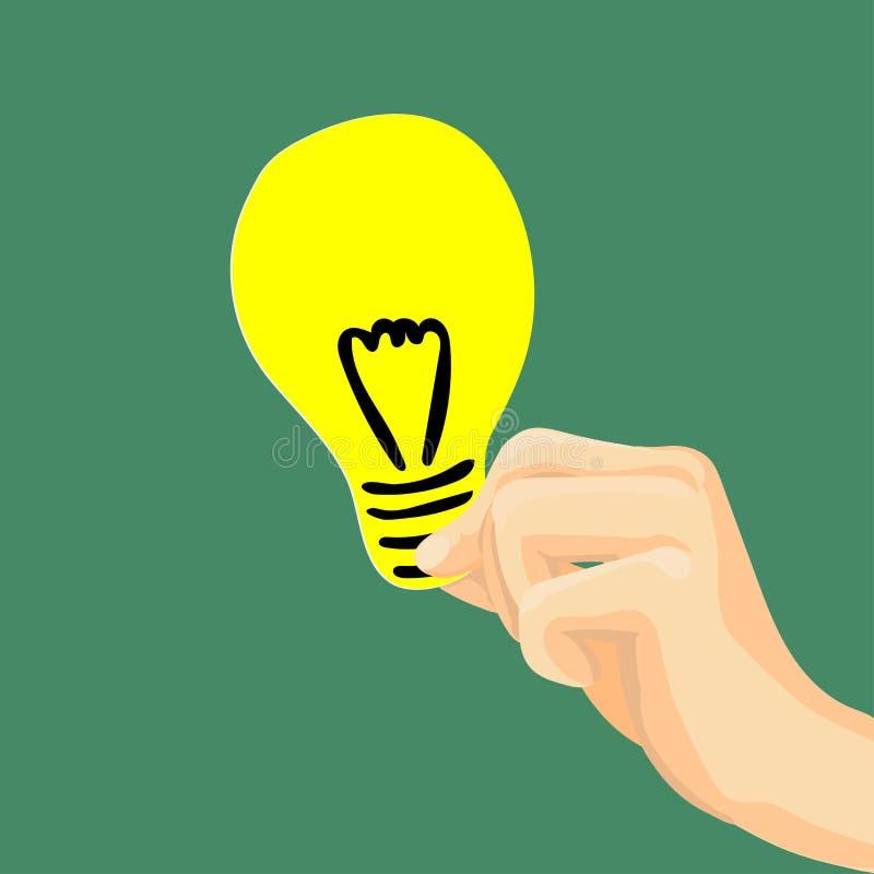 Επίπεδη ύφος-διανυσματική απεικόνιση λαμπών φωτός εκμετάλλευσης χεριών απεικόνιση αποθεμάτων