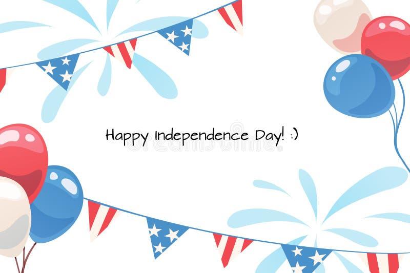 Επίπεδη editable ευτυχής ημέρα της ανεξαρτησίας ευχετήριων καρτών ελεύθερη απεικόνιση δικαιώματος
