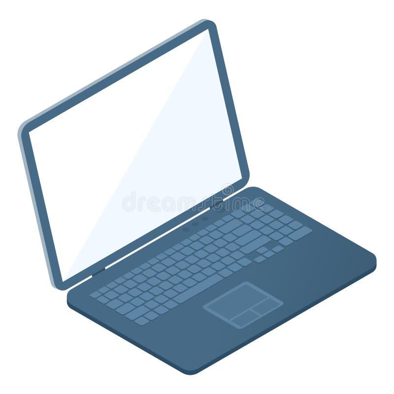 Επίπεδη isometric απεικόνιση του ανοιγμένου lap-top Φορητός υπολογιστής ελεύθερη απεικόνιση δικαιώματος