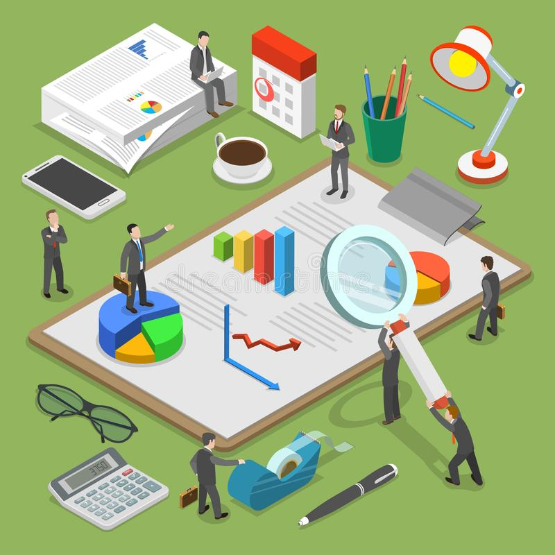 Επίπεδη isometric διανυσματική έννοια οικονομικού λογιστικού ελέγχου διανυσματική απεικόνιση