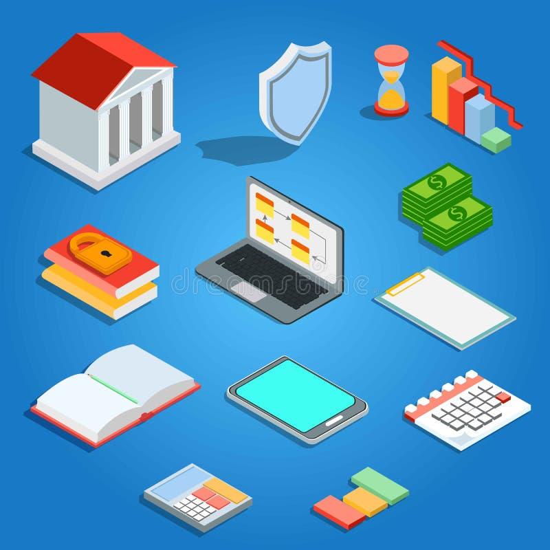 Επίπεδη isometric κινητή τραπεζική έννοια Πίστωση και δάνεια απεικόνιση αποθεμάτων