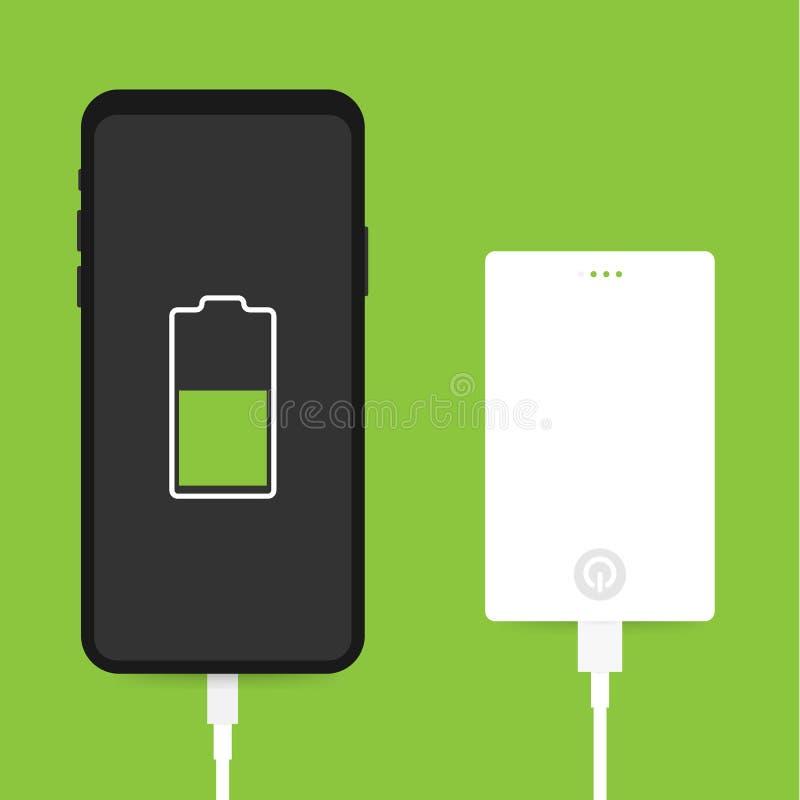 Επίπεδη isometric σύνδεση καλωδίων Smartphone USB με την εξωτερική τράπεζα δύναμης επίσης corel σύρετε το διάνυσμα απεικόνισης διανυσματική απεικόνιση