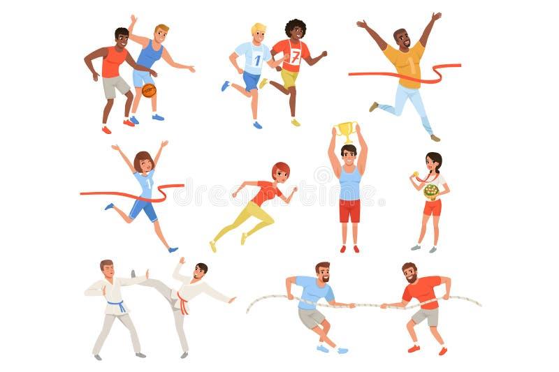 Επίπεδοι αθλητικοί άνθρωποι που συμμετέχουν στο διαφορετικό ανταγωνισμό Παίχτης μπάσκετ, karate μαχητές, σύγκρουση, αθλητές ελεύθερη απεικόνιση δικαιώματος