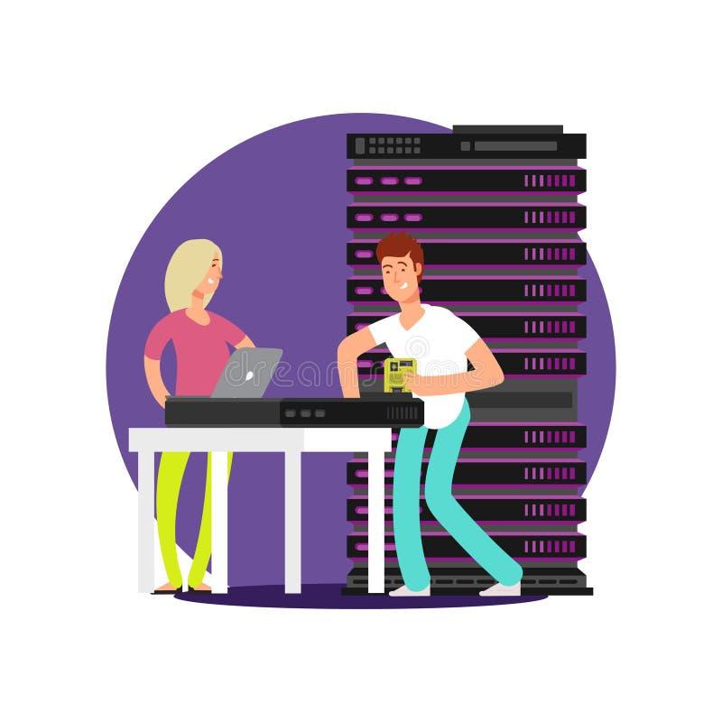Επίπεδοι διοικητές κεντρικών υπολογιστών χαρακτηρών κινουμένων σχεδίων ελεύθερη απεικόνιση δικαιώματος