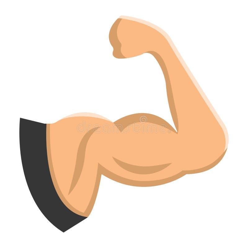 Επίπεδοι εικονίδιο μυών βραχιόνων, ικανότητα και αθλητισμός, δικέφαλοι μυ'ες διανυσματική απεικόνιση