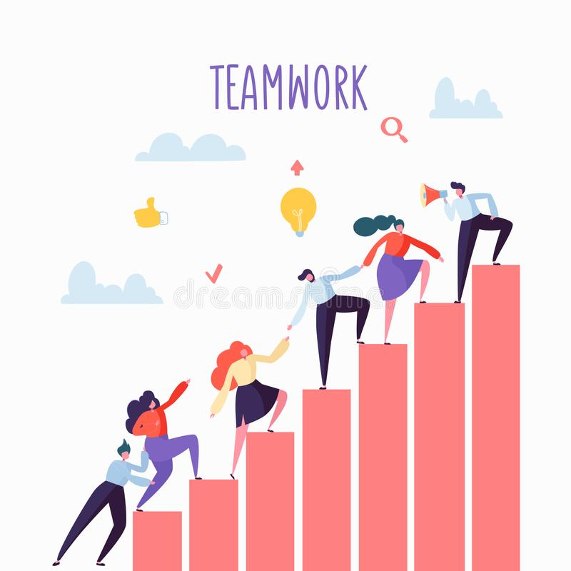 Επίπεδοι επιχειρηματίες που αναρριχούνται επάνω στα σκαλοπάτια Σκάλα σταδιοδρομίας με τους χαρακτήρες Εργασία ομάδας, συνεργασία, απεικόνιση αποθεμάτων