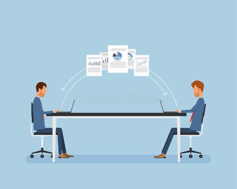 Επίπεδοι επιχειρηματίες που εργάζονται on-line διανυσματική απεικόνιση