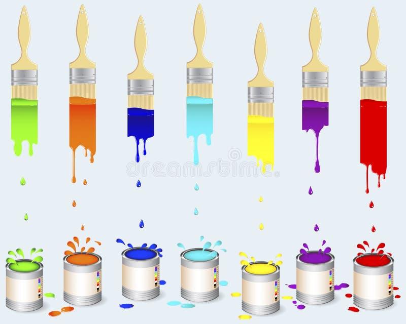 επίπεδοι κασσίτεροι χρωμάτων βουρτσών απεικόνιση αποθεμάτων
