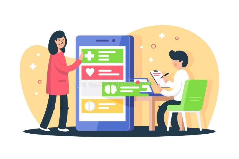 Επίπεδοι νέοι γυναίκα και άνδρας με app για τη διαδικασία παρατήρησης διανυσματική απεικόνιση