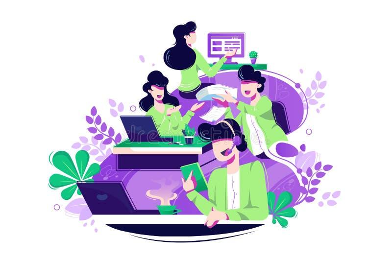 Επίπεδοι νέοι συνάδελφοι γυναικών και ανδρών με το lap-top και ακουστικά στο τηλεφωνικό κέντρο διανυσματική απεικόνιση