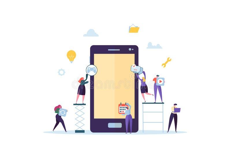 Επίπεδοι χαρακτήρες ανθρώπων που στηρίζονται την κινητή εφαρμογή με τα εικονίδια στην οθόνη Smartphone Έννοια ανάπτυξης Wireframe απεικόνιση αποθεμάτων
