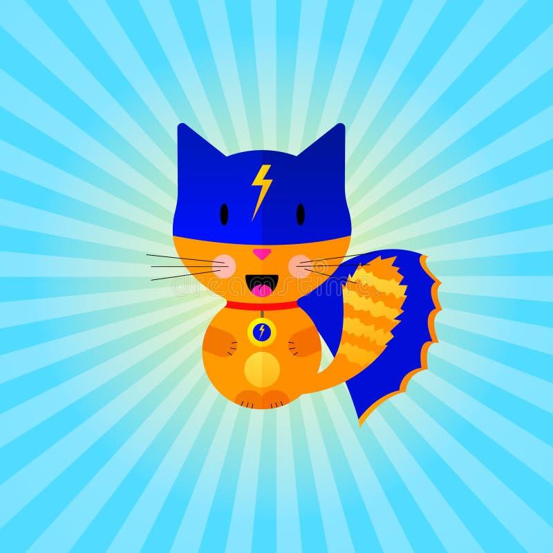 επίπεδος έξοχος ήρωας γατών απεικόνιση αποθεμάτων