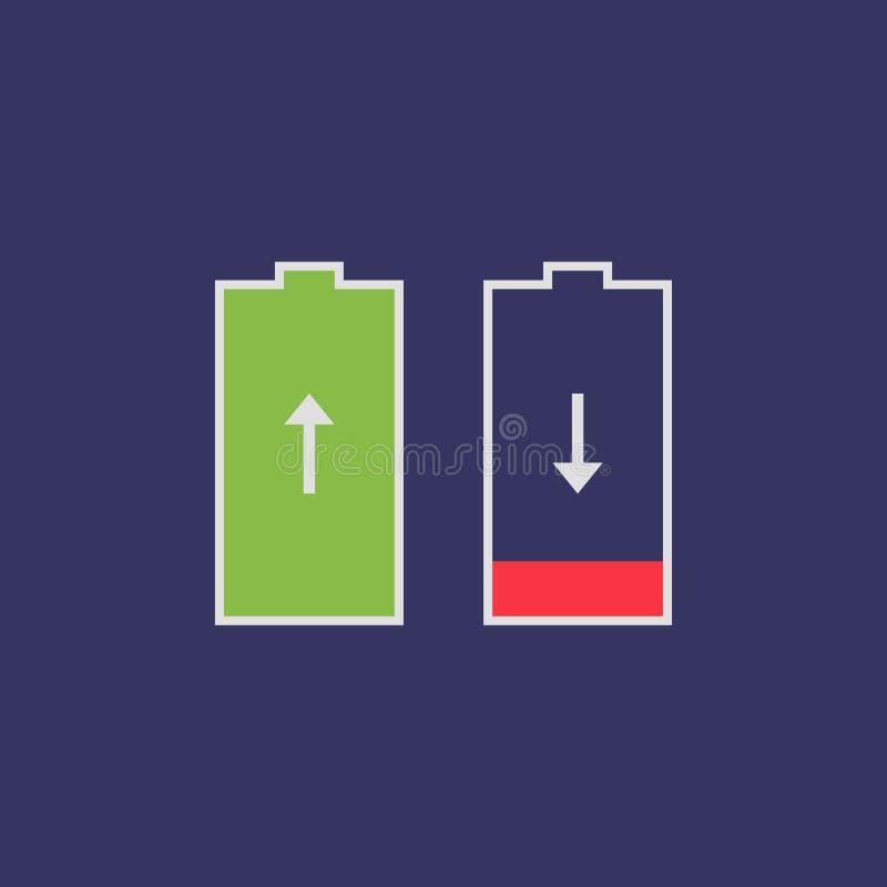 Επίπεδος αποταμιευτής μπαταριών εικονιδίων απεικόνιση αποθεμάτων