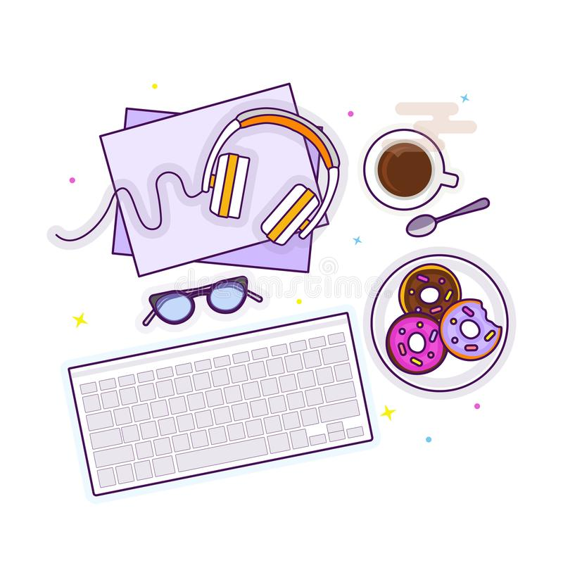 Επίπεδος βάλτε με τα γυαλιά, τα ακουστικά, το πληκτρολόγιο, donuts και τον καφέ στοκ φωτογραφία με δικαίωμα ελεύθερης χρήσης