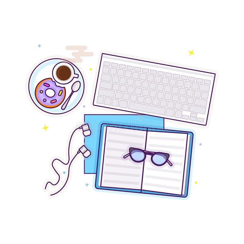 Επίπεδος βάλτε με τα γυαλιά, το lap-top, το ανοικτό βιβλίο, τα ακουστικά, doughnut και έναν καφέ στοκ εικόνα με δικαίωμα ελεύθερης χρήσης