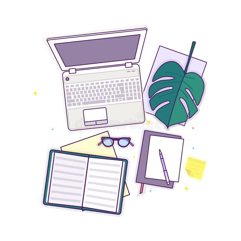 Επίπεδος βάλτε με τα γυαλιά, το lap-top, το ανοικτό βιβλίο, το σημειωματάριο και το monstera στοκ φωτογραφίες με δικαίωμα ελεύθερης χρήσης