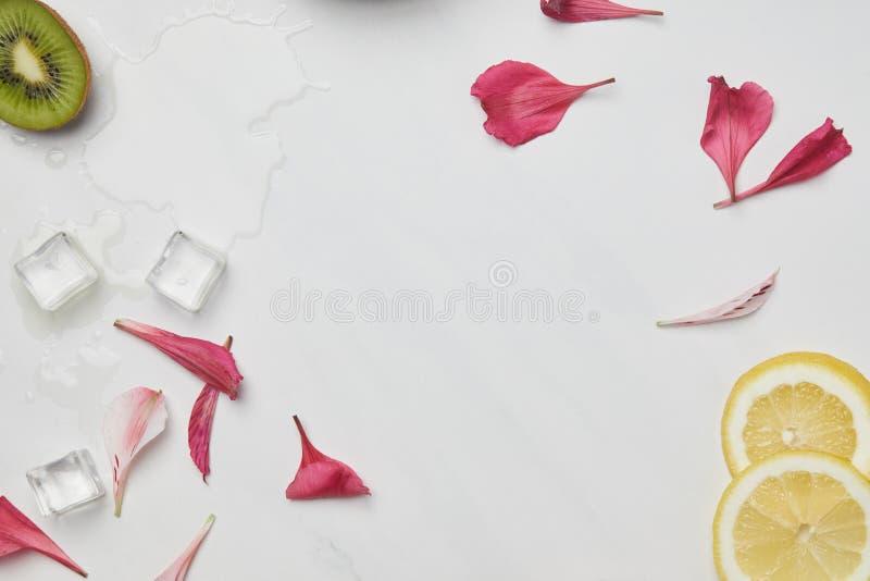 επίπεδος βάλτε με τα πέταλα λουλουδιών, τους κύβους πάγου, τα κομμάτια λεμονιών και ακτινίδιων άσπρο tabletop στοκ εικόνα με δικαίωμα ελεύθερης χρήσης