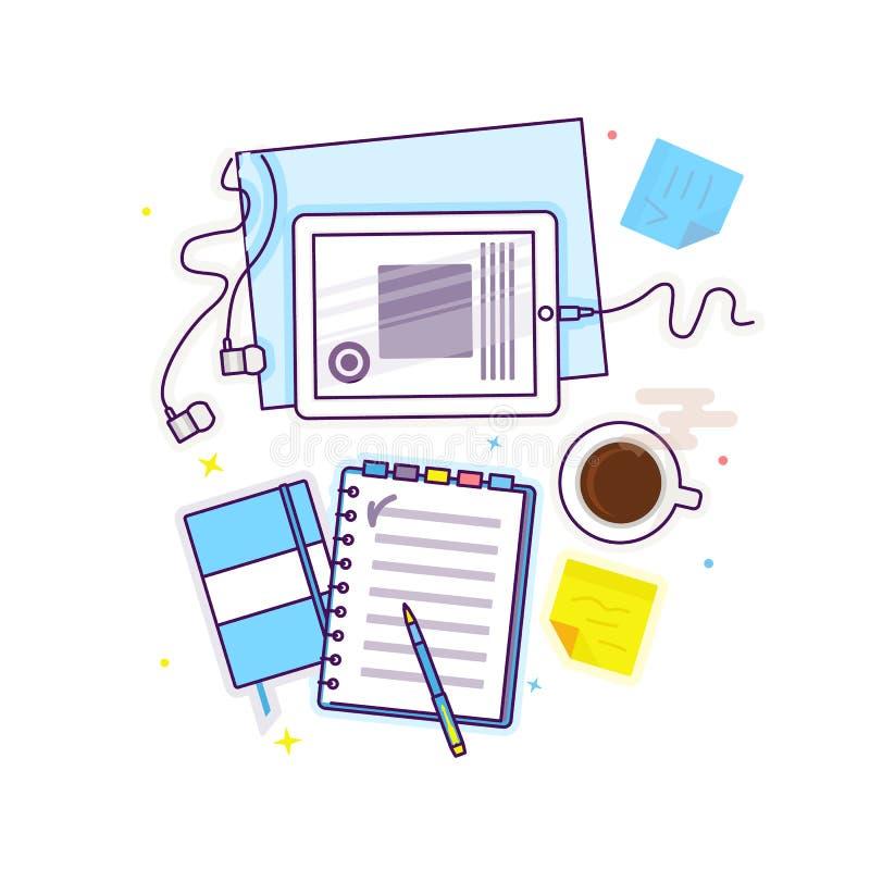 Επίπεδος βάλτε με την ταμπλέτα, το σημειωματάριο, τα ακουστικά και τον καφέ στοκ φωτογραφία