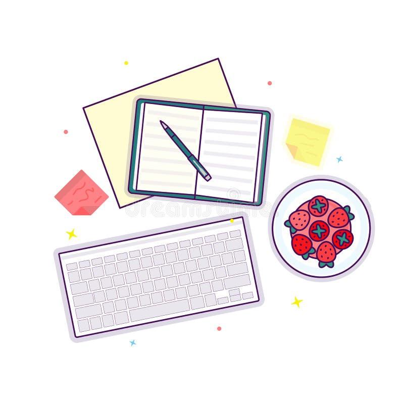 Επίπεδος βάλτε με το ανοικτές βιβλίο, τη φράουλα, το πληκτρολόγιο και τις αυτοκόλλητες ετικέττες στοκ φωτογραφία με δικαίωμα ελεύθερης χρήσης