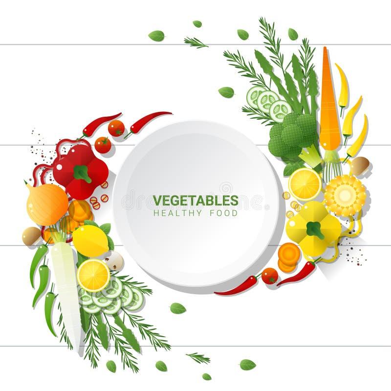 Επίπεδος βάλτε τα φρέσκα λαχανικά στο άσπρο επιτραπέζιο υπόβαθρο, υγιής έννοια τροφίμων διανυσματική απεικόνιση