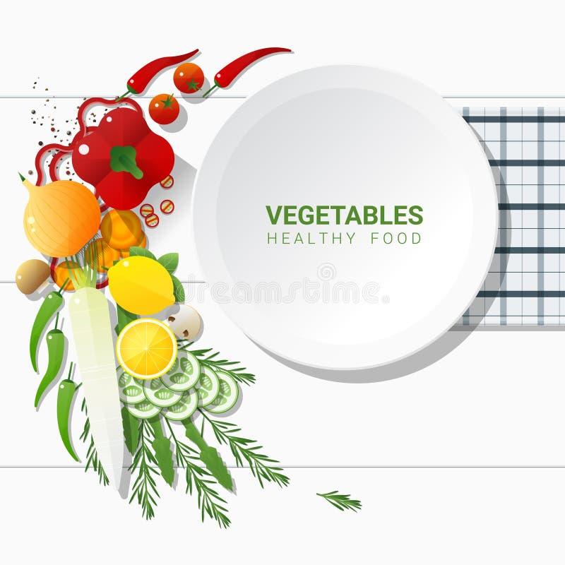 Επίπεδος βάλτε τα φρέσκα λαχανικά στο άσπρο επιτραπέζιο υπόβαθρο, υγιής έννοια τροφίμων ελεύθερη απεικόνιση δικαιώματος